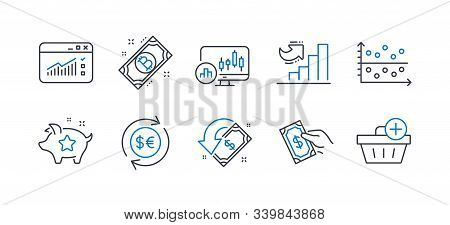 Set Of Finance Icons, Such As Cashback, Money Currency, Web Traffic, Candlestick Chart, Pay Money, L