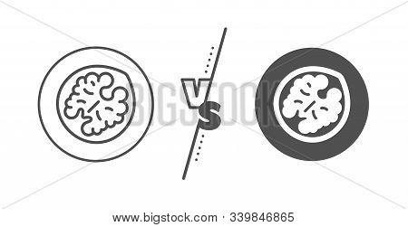 Tasty Nut Sign. Versus Concept. Walnut Line Icon. Vegan Food Symbol. Line Vs Classic Walnut Icon. Ve