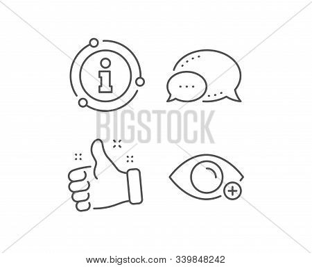 Farsightedness Line Icon. Chat Bubble, Info Sign Elements. Eye Diopter Sign. Optometry Vision Symbol