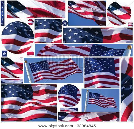 American Flag Buttons and Banners