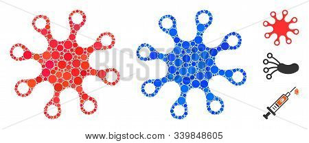 Axenic Composition Of Small Circles In Various Sizes And Color Tinges, Based On Axenic Icon. Vector
