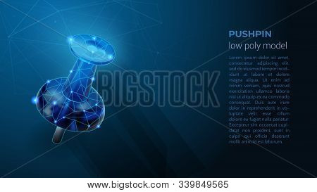 Pushpin - Polygonal Neon Symbol. Blue Low Poly Symbol. Abstract Neon Geometric Background. Wireframe