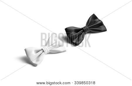 Blank Black And White Bow Tie Mockup Lying, Side View, 3d Rendering. Empty Male Classic Accessory Mo