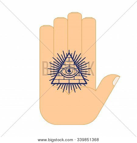 All-seeing Eye Arm Tattoo. Symbol Of World Government. Illuminati Conspiracy Theory. Sacred Sign. Py