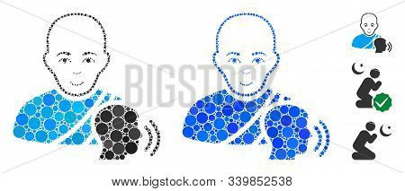 Buddhist Confession Mosaic Of Round Dots In Various Sizes And Shades, Based On Buddhist Confession I