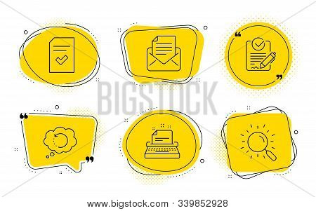 Checked File, Recovery Data And Search Signs. Chat Bubbles. Typewriter, Mail Correspondence And Rfp