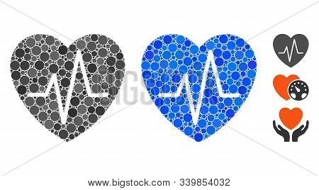 Cardiology Heart Pulse Composition Of Circle Elements In Variable Sizes And Color Tones, Based On Ca