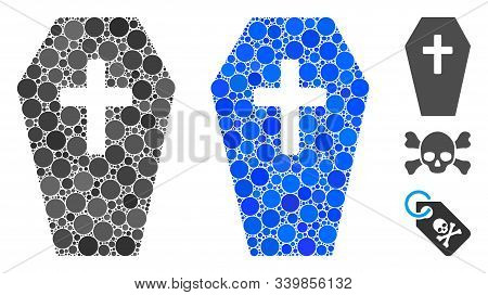 Coffin Mosaic Of Circle Elements In Different Sizes And Color Tints, Based On Coffin Icon. Vector Ci