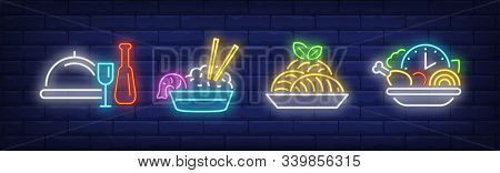 Restaurant Meals Neon Sign Set. Dish, Seafood, Happy Hours. Vector Illustration In Neon Style, Brigh