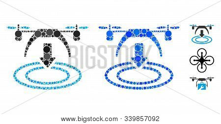 Copter Landing Composition Of Small Circles In Variable Sizes And Color Tinges, Based On Copter Land