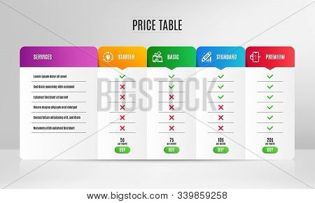 Idea, Seo Devices And Edit Statistics Icons Simple Set. Pricing Table, Price List. Augmented Reality