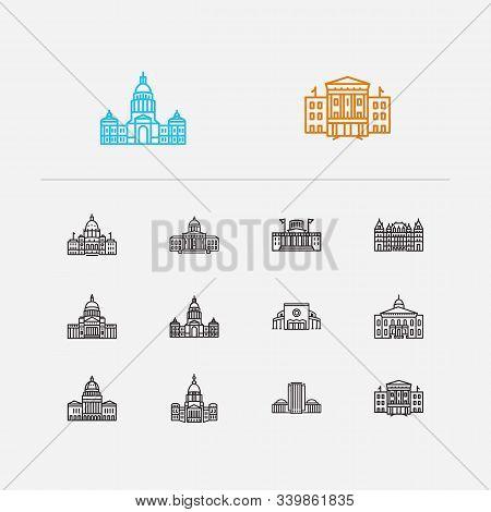 Us Capitols Icons Set. Arkansas State Capitol And Us Capitols Icons With Texas State Capitol, Skyscr