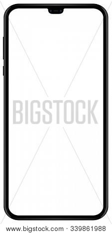 Brand new smartphone black color with blank screen isolated on white background mockup. Front view of modern multimedia mobile phone easy to edit and put your image or text.