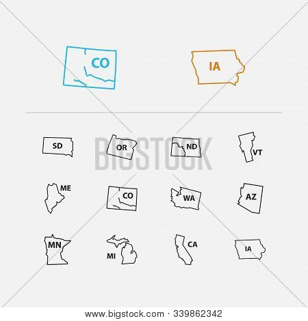 Cartography Icons Set. Arizona And Cartography Icons With View, North Dakota And American. Set Of So