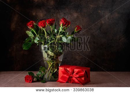 Red Roses In A Glass Vase For Valentines Day