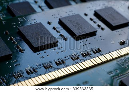 Contacts, Connecting Tracks And Microchips Of A Computer Ram Random Access Memory Modules Close-up F