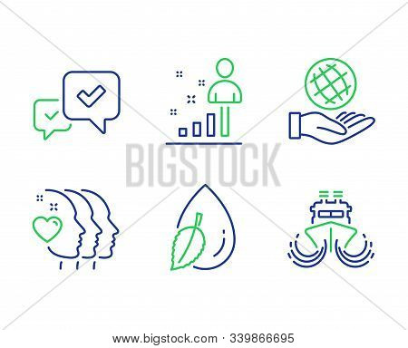 Stats, Water Drop And Approve Line Icons Set. Friends Couple, Safe Planet And Ship Signs. Business A