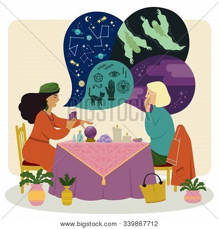 Fortune Teller Talking To A Woman About Astrology, Spirits And Occultism While Using A Crystal Ball