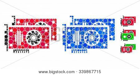 Graphic Accelerator Cards Mosaic Of Round Dots In Different Sizes And Color Tints, Based On Graphic
