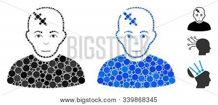 Head Hurt Composition Of Round Dots In Various Sizes And Shades, Based On Head Hurt Icon. Vector Dot