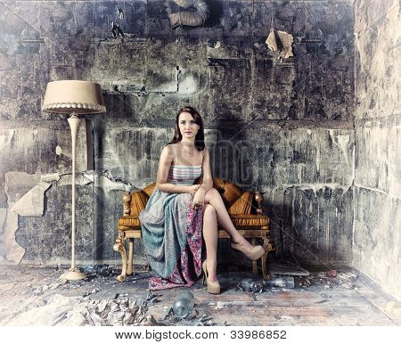young beautiful women, sitting in vintage sofa  (Photo and hand-drawing elements combined)
