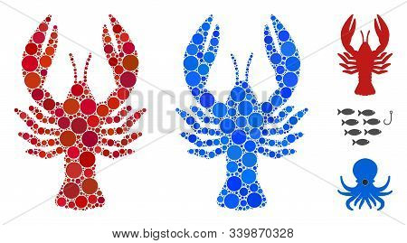 Lobster Mosaic Of Small Circles In Variable Sizes And Shades, Based On Lobster Icon. Vector Small Ci