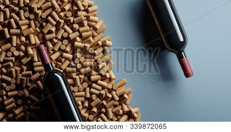 Two red wine glass bottles lies with a lot of wine corks. Top view. 3D render