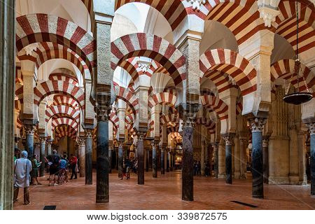 Cordoba, Spain - October 31, 2019: Moorish Architecture Inside The Mezquita Cathedral Or Great Mosqu