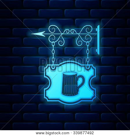 Glowing Neon Street Signboard Hanging On Forged Brackets With Wooden Mug Of Beer Icon Isolated On Br