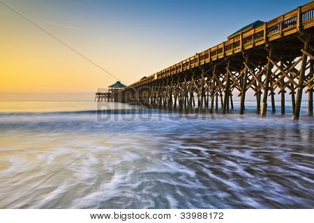 Folly Beach Pier Charleston Sc Coast Atlantic Ocean Pastel Sunrise