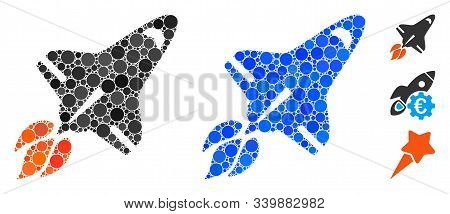 Space Shuttle Mosaic Of Round Dots In Variable Sizes And Color Tinges, Based On Space Shuttle Icon.