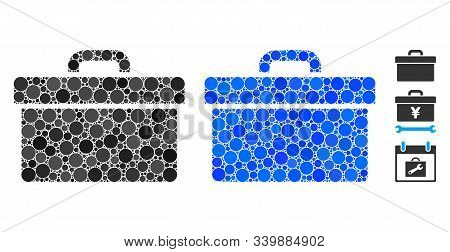 Toolbox Mosaic Of Filled Circles In Different Sizes And Color Tones, Based On Toolbox Icon. Vector F