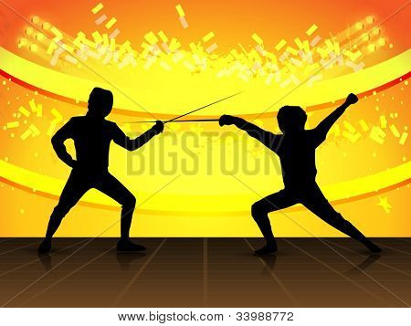 Silhouette of fencing athletes on colorful grungy background. EPS 10.