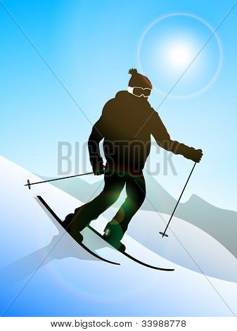 Skier performing skiing ion heavy snow mountains,EPS 10. poster
