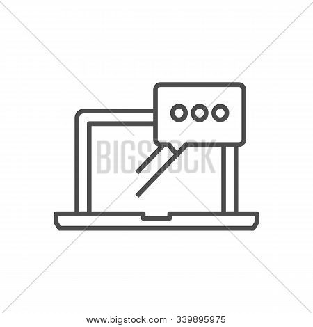 Laptop Email Send Icon. Outgoing Mail Delivery Sign. Notebook Sent Message Symbol. Thin Line Icon On