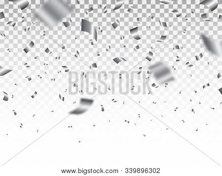 Silver Confetti Isolated On Transparent Backdrop. Luxury Bright Tinsel. Festive Decoration Elements.
