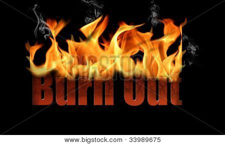 Word Burn Out In Fire Text
