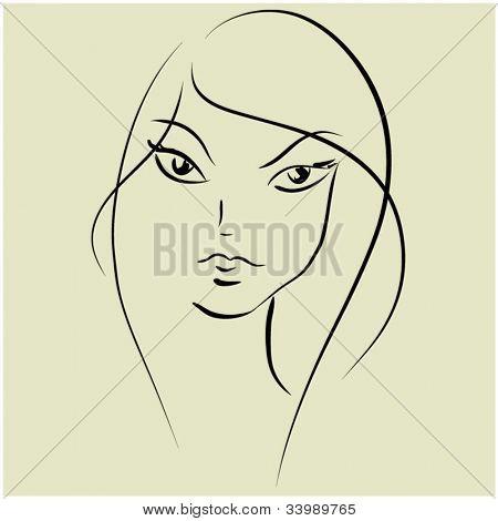 art sketching vector beautiful girl face