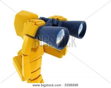 Man Looking Through The Binoculars