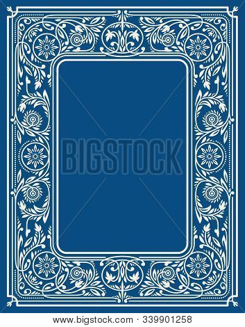 Winter Classic Blue Floral Border Or Frame With Blank Space In The Centre. Book Cover Template