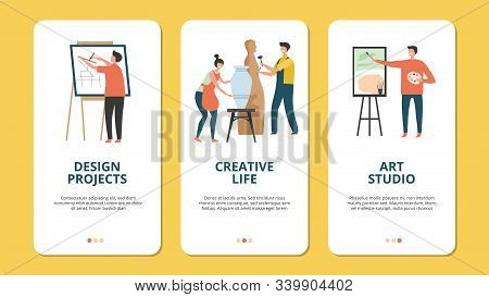 Hobby Concept. Design Artist Creative People Vector Characters. Creative Concepts For Mobile Applica