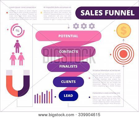 Business Funnel. Purchase Symbols Marketing Generation And Conversion Leads Vector Funnel Sales. Ill