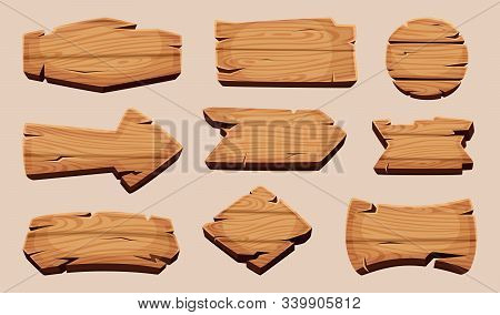 Wooden Cartoon Boards. Rustic Label Wooden Ribbons Template Blank Signboard Vector Picture. Illustra