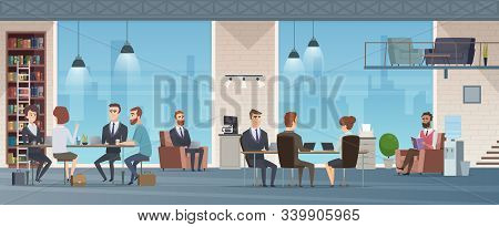 Coworking Center. Open Space Business Center Interior Work Place Environment Vector Cartoon Backgrou