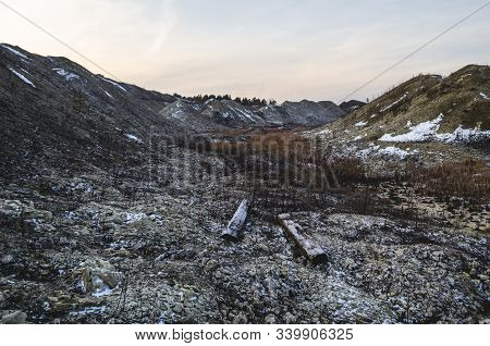 Limestone Quarry. Limestone Mining Development Area. Open-cast Quarry, Limestone Mining.