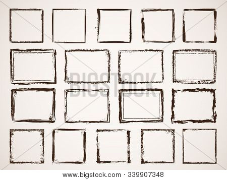 Grunge Borders. Damage Framing Scratchy Shapes Brushes Style Vector Hand Drawn Set. Frame Border Str