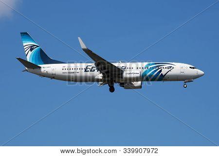 Istanbul / Turkey - March 28, 2019: Egyptair Boeing 737-800 Su-gdx Passenger Plane Arrival And Landi