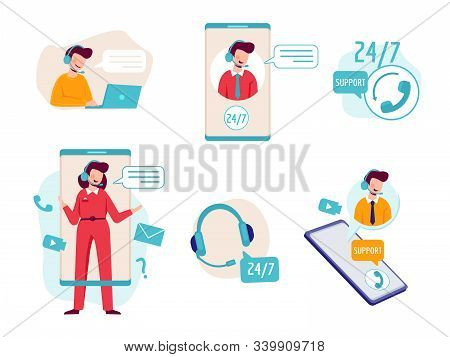 Online Assistant. Virtual Operator Chat Help Technical Support Headset Helpline Service Vector Conce