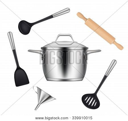 Kitchen Objects. Realistic Items For Cooking Food Griddles Pans Knives Forks Ladles Vector Utensils.