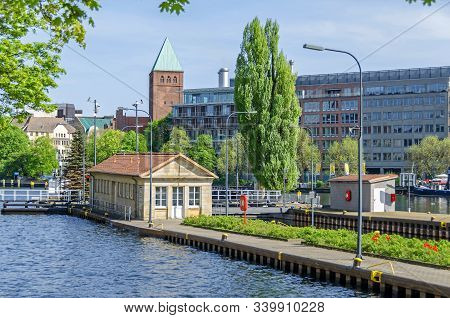 Berlin, Germany - April 22, 2018: Multi-chamber Muehlendamm Locks In The Central Mitte District Of B